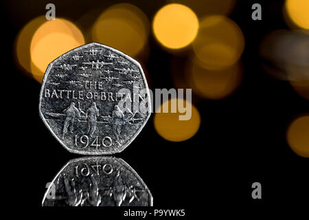 A rare 50 pence coin commemorating the 1940 Battle of Britain - Stock Photo