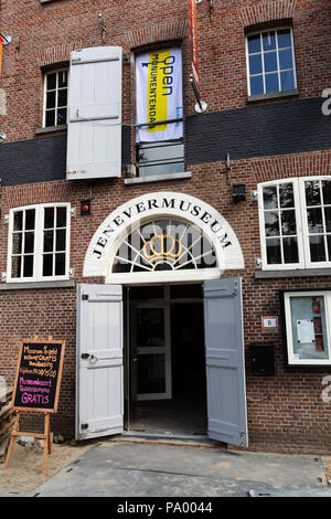 Entrance to the Jenever Museum (Jenevermuseum) at Schiedam, the Netherlands. The museum tells the story of jenever, a Dutch drink similar to gin. - Stock Photo