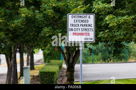 No overnight parking prohibited sign with fine and tree - Stock Photo