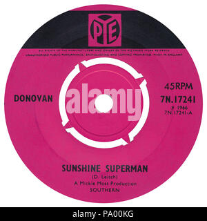 UK 45 rpm 7' single of Sunshine Superman by Donovan on the Pye label from 1966. Written by Donovan Leitch and produced by Mickie Most. - Stock Photo