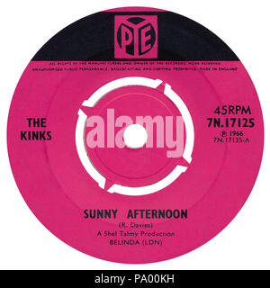 UK 45 rpm 7' single of Sunny Afternoon by The Kinks on the Pye label from 1966. Written by Ray Davies and produced by Shel Talmy. - Stock Photo