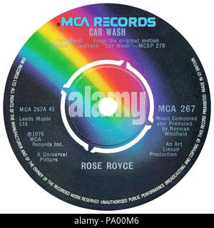 UK 45 rpm 7' single of Car Wash by Rose Royce on the MCA label from 1976. Written and produced by Norman Whitfield. - Stock Photo