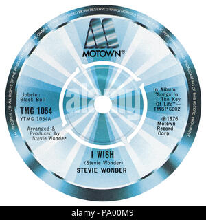 UK 45 rpm 7' single of I Wish by Stevie Wonder in the Motown label from 1976. Written, arranged and produced by Stevie Wonder. - Stock Photo
