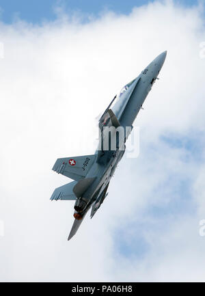 F/A-18C Hornet of the Swiss Air Force displaying at the 2018 RAF RIAT air show, Fairford,Gloucestershire,uk - Stock Photo