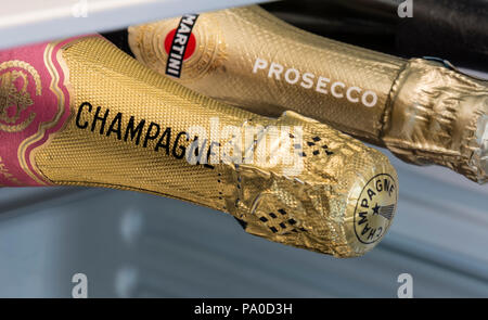 Champagne and Prosecco bottles stored horizontal in refrigerator chiller wine cabinet. French and Italian Sparkling Wine Bottle choices - Stock Photo