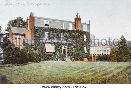 Charles Dickens' Home, Gad's Hill Kent, vintage postcard from 1907 - Stock Photo