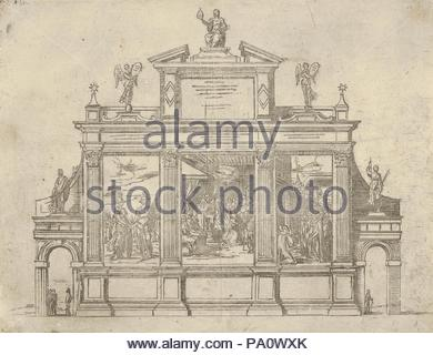 Facade of a triumphal monument with three scenes depicting deeds of Pope Clement VIII, a temporary decoration for the entry of Pope Clement VIII in Bologna in 1598, 1598, Etching, Sheet (Trimmed): 7 7/8 × 10 3/8 in. (20 × 26.4 cm), Guido Reni (Italian, Bologna 1575–1642 Bologna), Scene at center shows the Pope blessing the King of France. Plate from 'Descrittione de gli apparati fatti in Bologna per la venuta di N.S. Papa Clemente VIII', a book containing a description of the festivities for Pope Clement VIII's entry to Bologna and eight etchings by Reni illustrating the temporary decorations  - Stock Photo