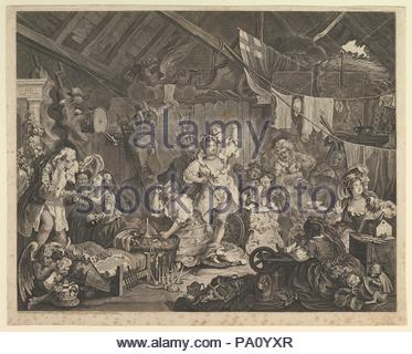 Strolling Actresses Dressing in a Barn, May 1738, Etching and engraving; fourth state of four, sheet: 17 11/16 x 22 7/16 in. (45 x 57 cm), Prints, William Hogarth (British, London 1697–1764 London). - Stock Photo