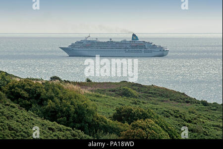 Swansea, Wales, UK. 20th July, 2018. The German cruise ship MS Amadea off the coast of the Gower Peninsula near Swansea this morning as she comes into dock to spend a day in the city as part of her current British Isles cruise. Credit: Phil Rees/Alamy Live News - Stock Photo