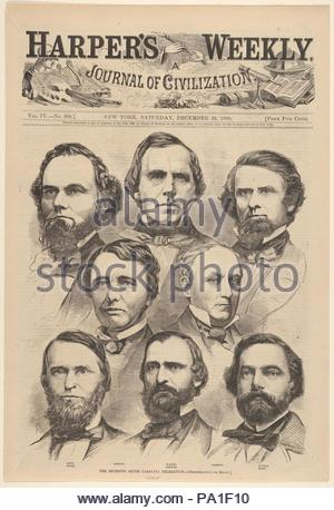 The Seceding South Carolina Delegation [Photographed by Brady] (from Harper's Weekly, Vol. IV), December 22, 1860, Wood engraving after photographs, Sheet: 15 3/8 × 10 1/2 in. (39 × 26.7 cm), Prints, After Mathew B. Brady (American, born Ireland, 1823?–1896 New York), South Carolina was the first state to leave the Union, precipitating a chain of events that led to the outbreak of the Civil War. Once Abraham Lincoln's election became a certainty in November 1860, state delegates voted to dissolve all federal ties on December 20. - Stock Photo