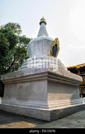 Large white-washed stupa and bodhi tree in the first courtyard of Punakha Dzong, Bhutan - The Punakha Dzong, also known as Pungtang Dechen Photrang Dz - Stock Photo