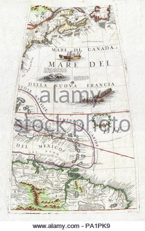 1688, Coronelli Globe Gore Map of NE North America, the West Indies, and NE South America. - Stock Photo