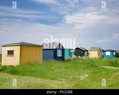 Colorful beach huts in Vesterstrand, Aeroskobing, Aero Island, Denmark, Europe. - Stock Photo