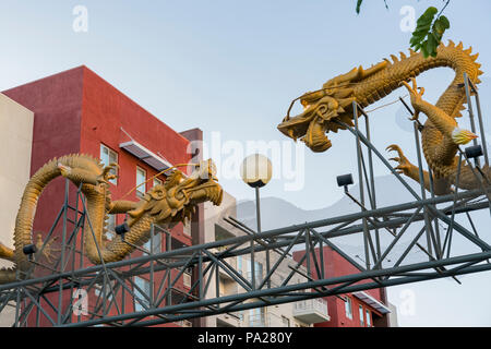 Los Angeles, JUL 12: The famous entrance dragon of Chinatown on JUL 12, 2018 at Los Angeles, California - Stock Photo