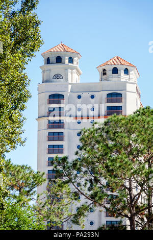 Orlando Florida Doubletree by Hilton Orlando SeaWorld hotel property grounds high-rise building exterior tower - Stock Photo