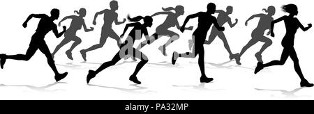 Runners Race Track and Field Silhouettes - Stock Photo