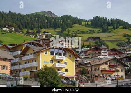 Cityscape at Santa Cristina in Val Gardena in Italy - Stock Photo
