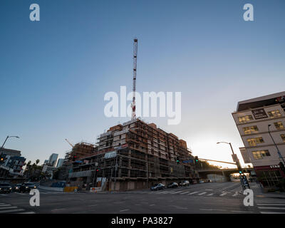 Los Angeles, JUL 12: Afternoon view of a construction site near Chinatown on JUL 12, 2018 at Los Angeles, California - Stock Photo