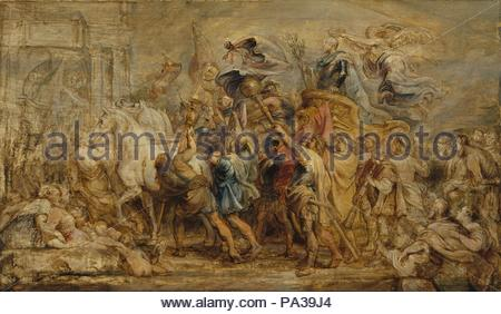 The Triumph of Henry IV, ca. 1630, Oil on wood, 19 1/2 x 32 7/8 in. (49.5 x 83.5 cm), Paintings, Peter Paul Rubens (Flemish, Siegen 1577–1640 Antwerp), This energetic sketch shows Henry IV (1553–1610), King of France, entering Paris 'in the manner of the triumphs of the Romans,' as described in Rubens's contract of 1622. Rubens was to paint forty-eight large canvases for the king's widow, Marie de' Medici, to decorate the Palais de Luxembourg. - Stock Photo