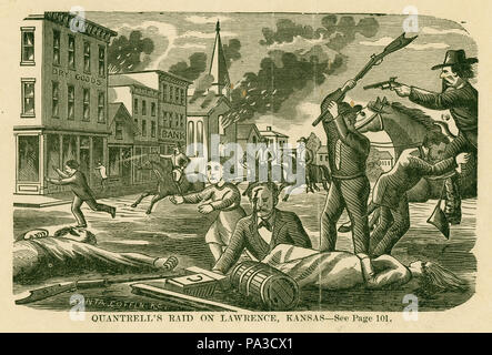 . English: Print of a man in the foreground with rifle raised over his head, using it to hit man laying on ground who is bleeding from his head and lying next to a woman. A child is running away from the scene while a man is running past a horse whose rider has a drawn a pistol. There are buildings burning, people running, and men on horseback in the background. 'BANTA COFFIN K.C.' (written on image). 'QUANTRELL'S RAID ON LAWRENCE, KANSAS - See Page 101.' (printed below image). 'Wm. Clarke Quantrill 1837-65 Gambler Fought Guerilla warfare in Mo. Aug. 11, 1862 Captured Independence Mo. Made Cap - Stock Photo