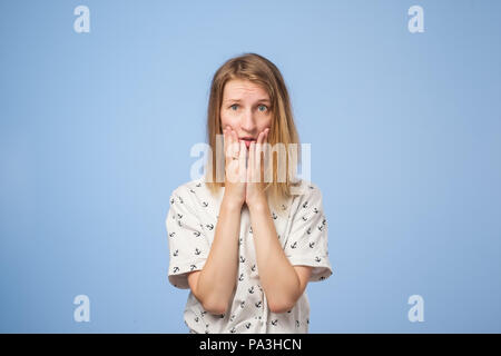 Portrait of european woman looking bewildered and confused - Stock Photo