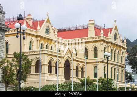 Wellington, New Zealand - 18 July 2016: New Zealand Parliamentary Library (formerly the General Assembly Library) is the oldest of the buildings in th - Stock Photo