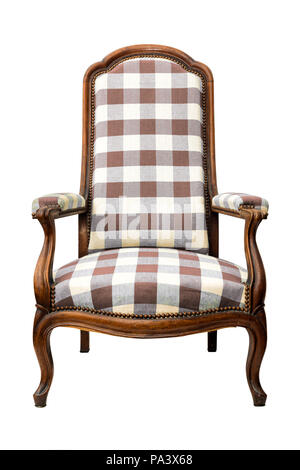 wooden vintage armchair with square pattern isolated on white - Stock Photo