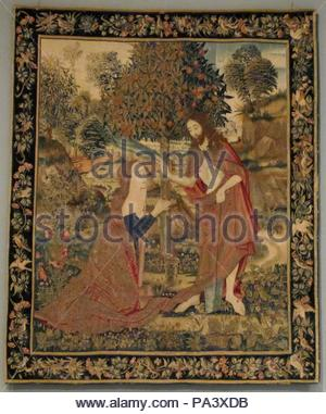 The Resurrected Christ Appearing to Mary Magdelene in the Garden, ca. 1500–1520, South Netherlandish, Wool warp; wool, silk, and gilt wefts, Overall: 94 x 80in. (238.8 x 203.2cm), Textiles-Tapestries. - Stock Photo