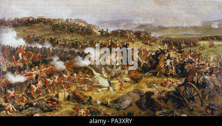 Philippoteaux  Henri FéLIX - the Battle of Waterloo - the British Squares Receiving the Charge of the French Cuirassiers - Stock Photo