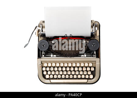 vintage typewriter isolated on white background with blank textured sheet loaded ready to type - Stock Photo