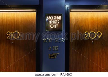 Corridor interior. Indigo Hotel, Leicester Square, London, United Kingdom. Architect: Michaelis Boyd Associates Ltd, 2018. - Stock Photo