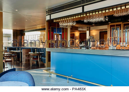 Restaurant interior. Indigo Hotel, Leicester Square, London, United Kingdom. Architect: Michaelis Boyd Associates Ltd, 2018. - Stock Photo