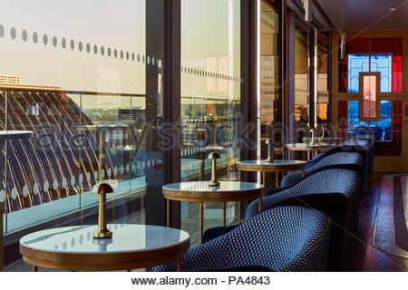 Restaurant interior. Indigo Hotel, Leicester Square, London, United Kingdom. Architect: Michaelis Boyd Associates Ltd, 2018. - Stock Photo