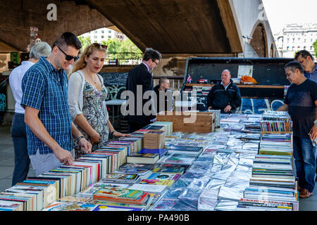 Southbank Centre Book Market, Thames Riverside, London, England - Stock Photo