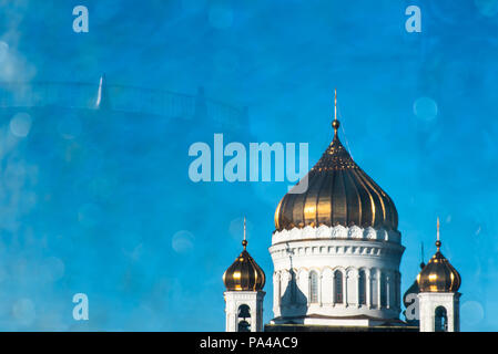 Golden dome on top of orthodox chapel with blurred bokeh - Stock Photo