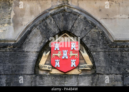 The City of Winchester's Coat of Arms as seen on the outside of the Winchester Guildhall building, Hampshire, England. - Stock Photo
