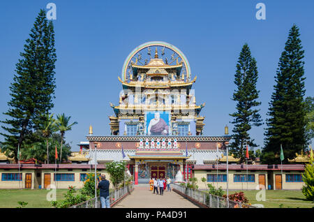 Zangdog Palri Temple in Namdroling Monastery in Mysore district, Karnataka, India - Stock Photo