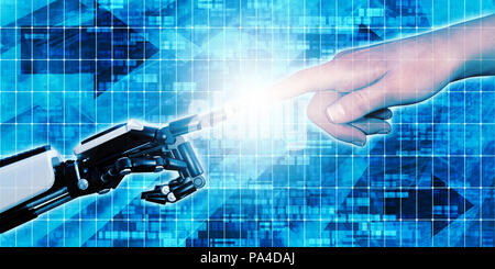 Merging Man and Technology Together Engineering Concept - Stock Photo