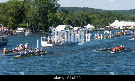 Henley on Thames, United Kingdom, 8th July 2018, Sunday, Final, 'The Grand Challenge Cup', left, 'Georgina Hope Rinehart National Training Centre, Aus - Stock Photo