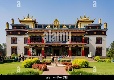 Padmasambhava Buddhist Vihara (known by locals as the 'Golden Temple') in Namdroling Monastery in Mysore district, Karnataka, India - Stock Photo