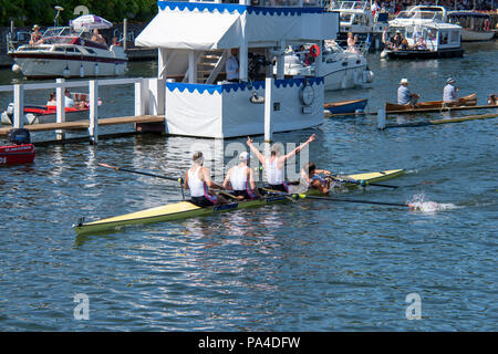 Henley on Thames, United Kingdom, 8th July 2018, Sunday, Final, 'The  Visitors' Challenge Cup',  'Leander Club'  celebrate, victory, 'Fifth day', of t - Stock Photo