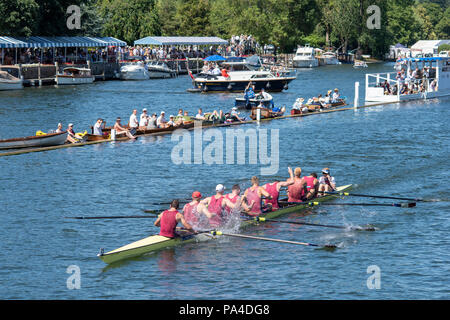 Henley on Thames, United Kingdom, 8th July 2018, Sunday, 'The Ladies Challenge Plate', Oxford Brookes winning and Celebrating, the Final, 'Fifth day', of the annual,  'Henley Royal Regatta', Henley Reach, River Thames, Thames Valley, England, © Peter SPURRIER, - Stock Photo