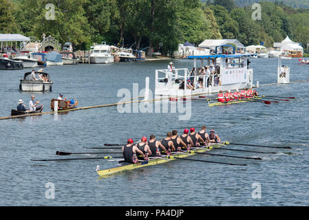 Henley on Thames, United Kingdom, 8th July 2018, Sunday, 'The Thames Challenge Cup', won by, Thames Rowing Club,  'Fifth day', of the annual,  'Henley Royal Regatta', Henley Reach, River Thames, Thames Valley, England, © Peter SPURRIER, - Stock Photo