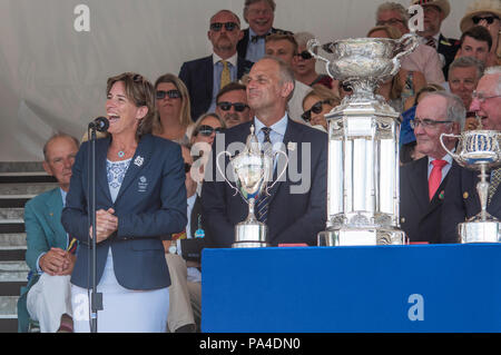 Henley on Thames, United Kingdom, 8th July 2018, Sunday, left to Right, 'Dame Katherine GRAINGER', 'Sir  Stenen REDGRAVE', 'MIke SWEENEY' and, 'Angus  - Stock Photo