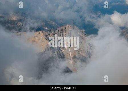 Panoramic view of Marmolada mountain range with Marmolada glacier in Dolomites, Italy - Stock Photo