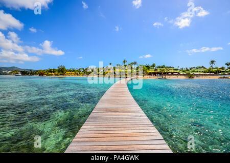 Caribbean Martinique pontoon on marin bay - Stock Photo