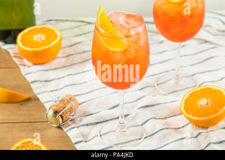 Alcoholic Aperol Spritz with Champagne and Oranges - Stock Photo