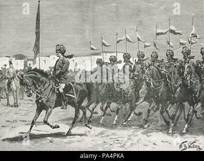 Governor of Malta, reviewing Indian troops of the Malta Expeditionary Force, 1878 - Stock Photo