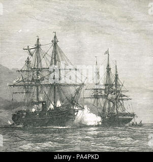 Capture of the Turkish steamer Mercene by the Russia, 23 December 1877, during the Russo-Turkish War 1877-78 - Stock Photo