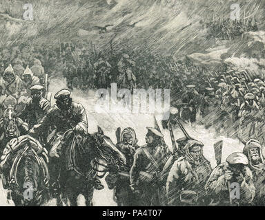 Russian army under field marshal Gourko, crossing the Balkans, during the Russo-Turkish War 1877-78 - Stock Photo